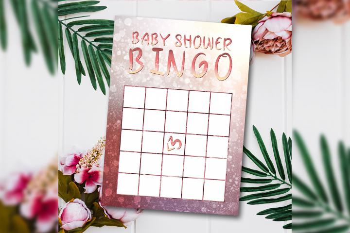 ROSE Babyshower Bingo Cards Bokeh Games Printable template