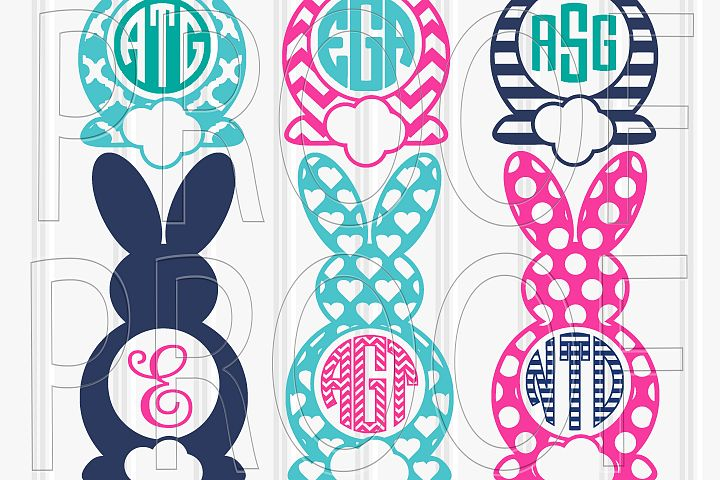 Easter Cut File Set of 6 for Monograms svg/png/jpg (Colors/monograms for display only, designs come black)
