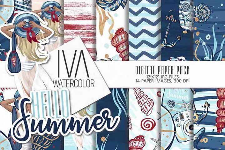 Summer digital paper, Sea Nautical digital paper