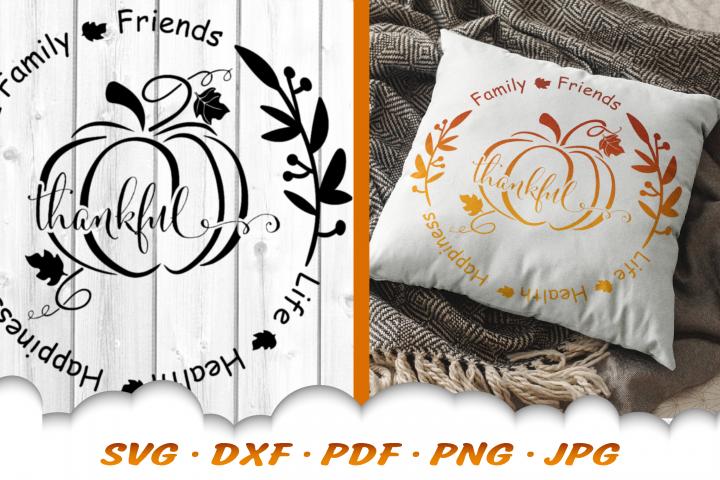 Thankful Fall Pumpkin Sign SVG DXF Cut Files