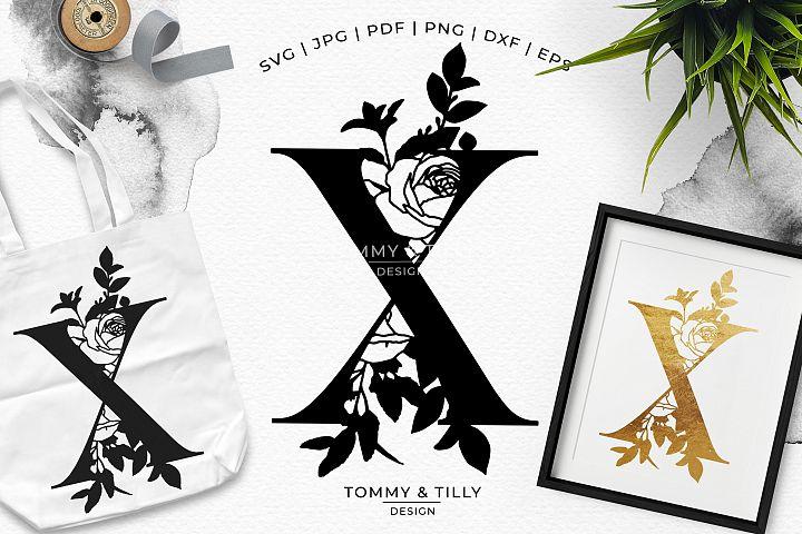 X Bouquet Letter Design - Paper Cut SVG EPS DXF PNG PDF JPG