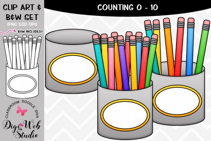 Clip Art / Illustrations - 0-10 Counting Pencils