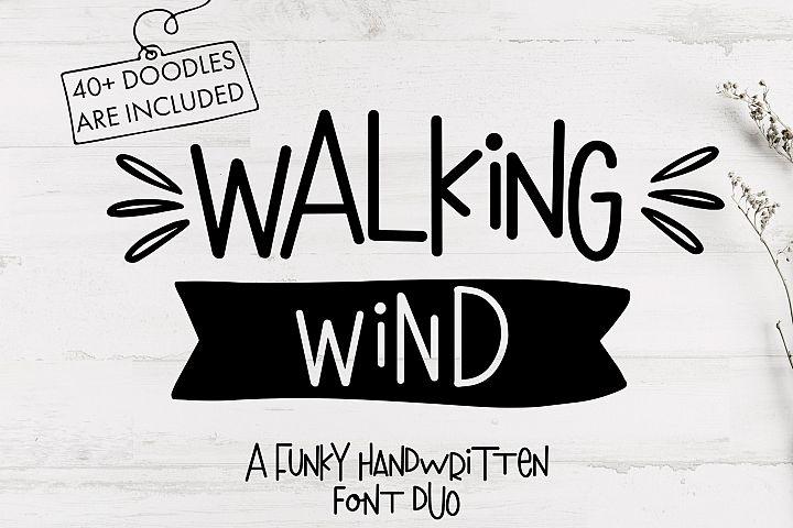 Walking Wind - A funky handwritten font duo with doodles
