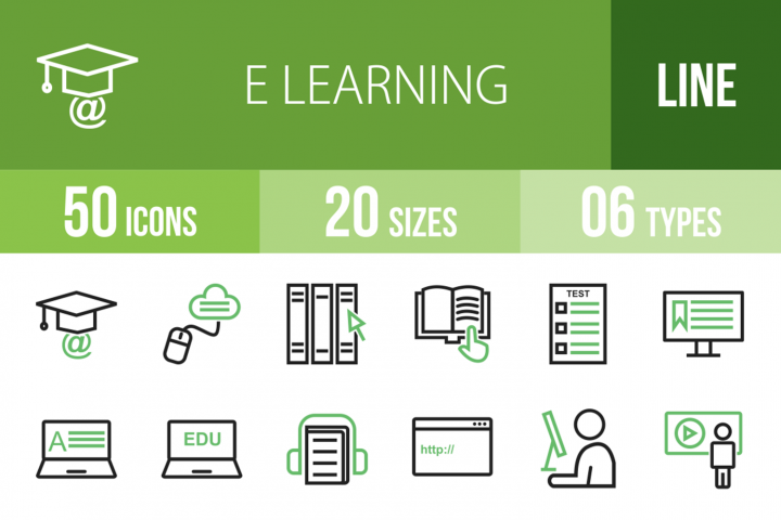 50 E Learning Line Green & Black Icons
