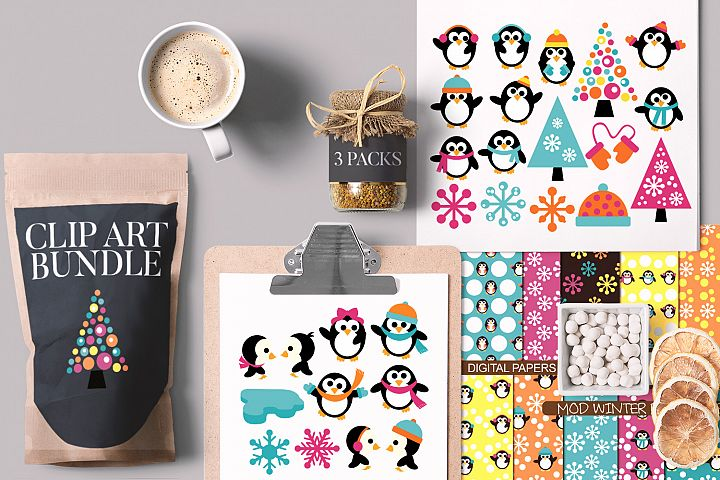Winter Bundle, Cute Penguins and Snowflakes
