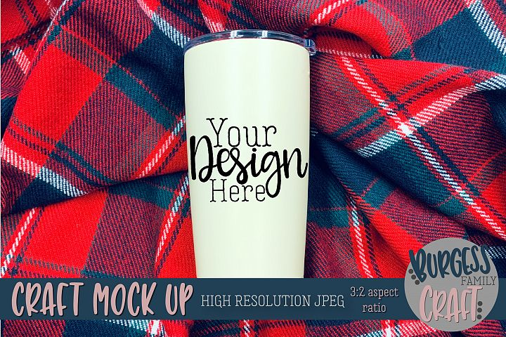 Tumbler on Plaid Craft mock up |High Resolution JPEG