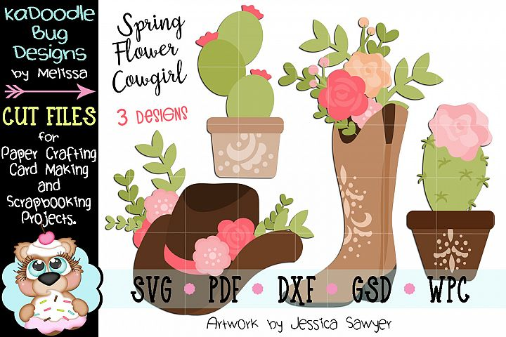 Spring Flower Cowgirl Country Bundle Set - 3 Cut Files SVG