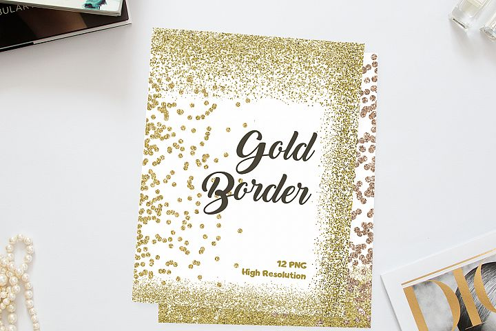 Gold Glitter Border Clip Art - Golden Confetti- 12 PNG Digital for Scrapbooking