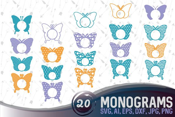 20 Butterfly Monograms Bundle SVG, DXF, JPG, PNG, DWG, AI, EPS