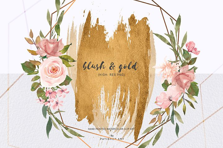 Watercolor Gold Geometric Frames Watercolor Brush Strokes
