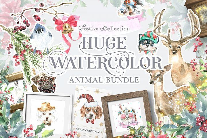 Watercolor Animals Bundle Sale Festive Woodland illustration