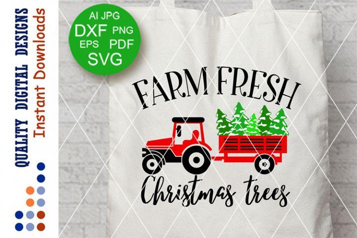 Farm Fresh CHRISTMAS Trees sign Farmers market Svg files Red