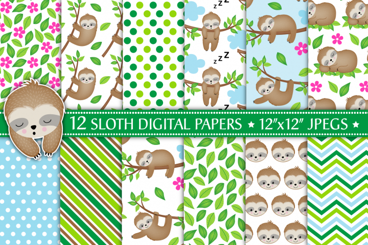 Sloth Digital Papers, Sloth Patterns, Cute Sloths