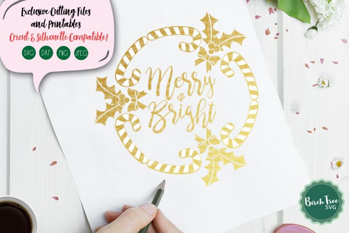Merry and Bright Wreath Svg, Christmas Wreath Svg File