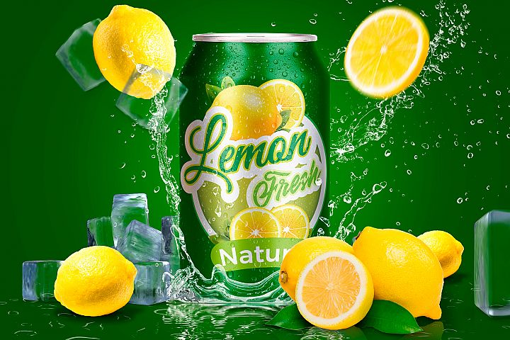 Tin Can Water Droplets Lemon Mockup