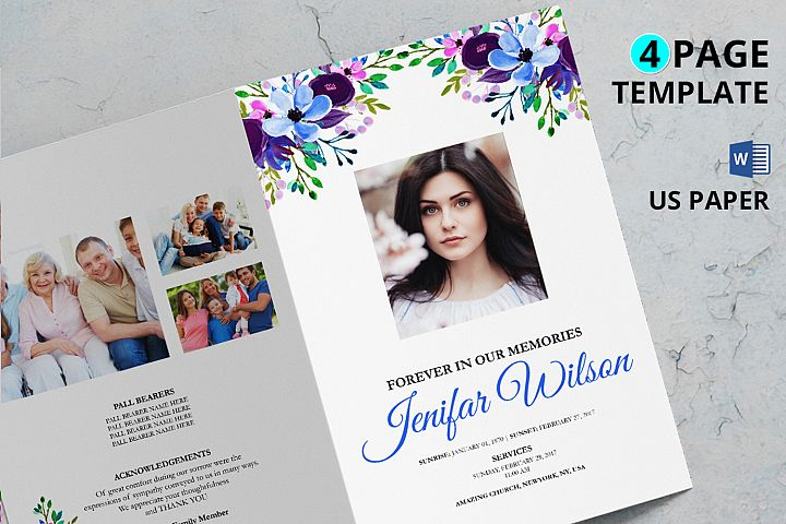 Purple Watercolor Funeral Program Template