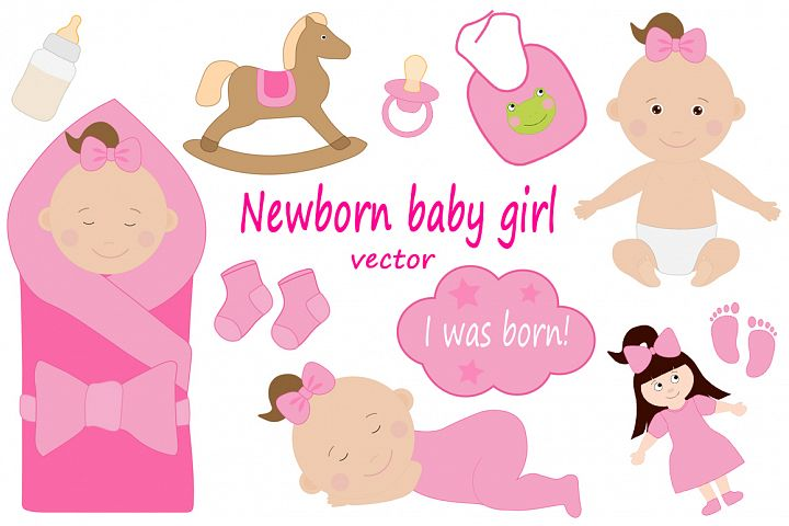 Cute newborn kids girl vector drawing