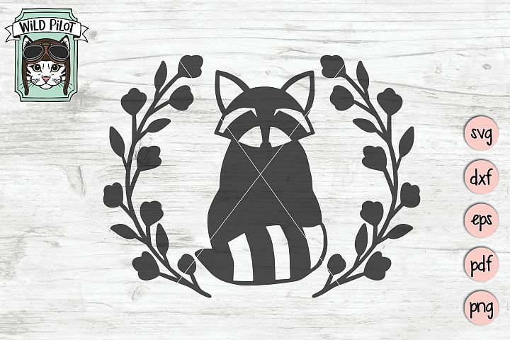 Raccoon SVG file, Raccoon Wreath cut file, Woodland svg