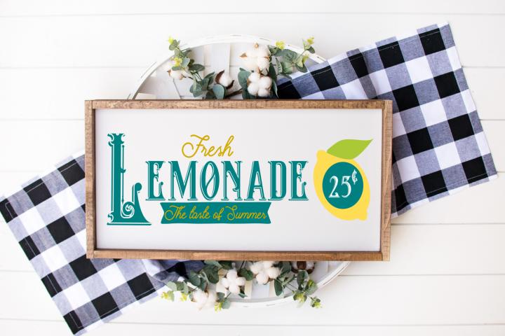 Fresh Lemonade Summer Wood Sign SVG DXF Cut File