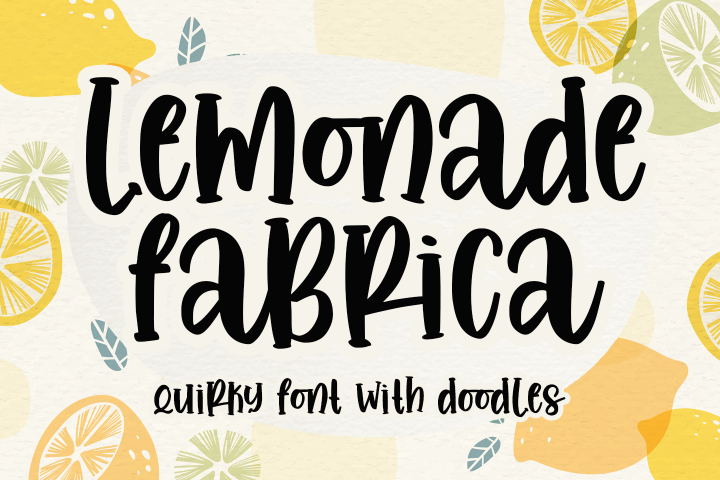 Lemonade fabrica -quirky with doodles-