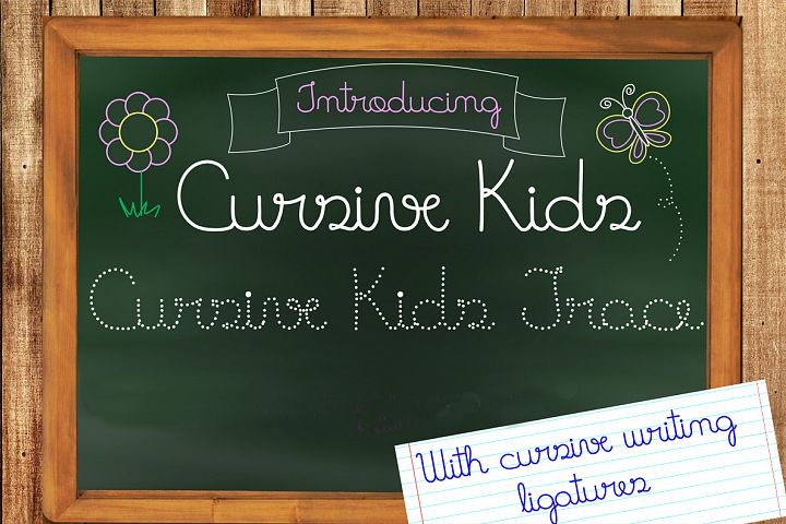 Fonts Cursive Kids and Cursive Kids Trace