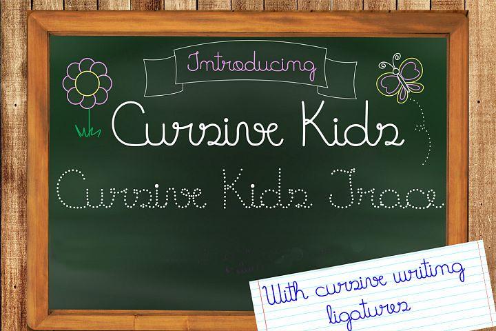 Fonts Cursive Kids and Cursive Kids Trace