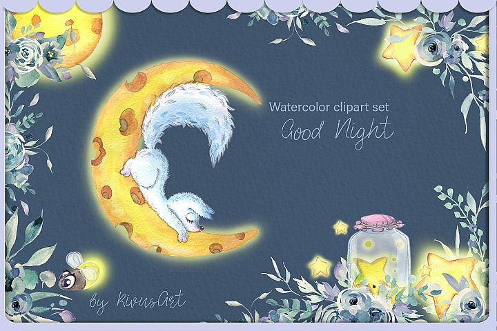 Arctic fox and glowworm night watercolor clipart kit for bab