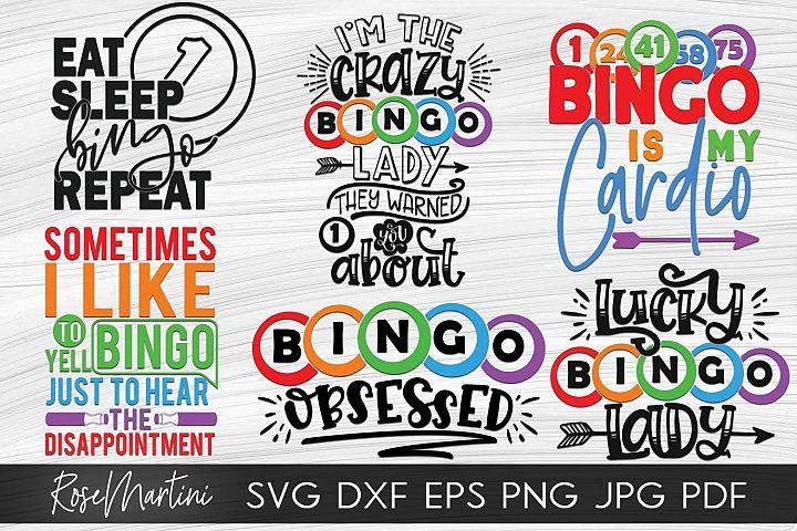Bundle Of 6 Bingo Designs SVG Bingo SVG Bingo lover