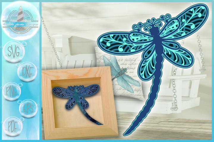 3D Dragonfly Mandala Multi Layered Mandala SVG