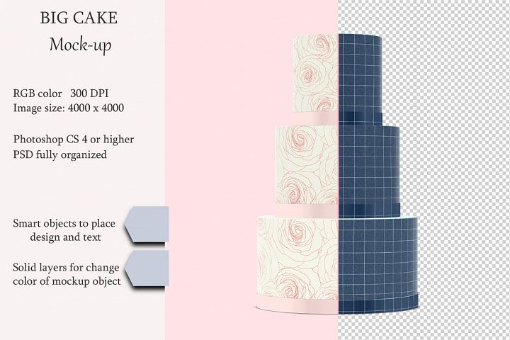 Cake mockup. Product place. PSD object mockup.