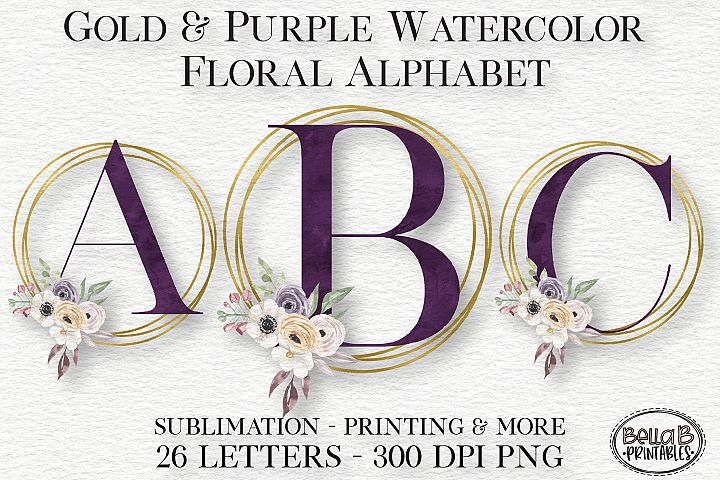 Gold Purple Watercolor Floral Alphabet Set, Alphabet Clipart