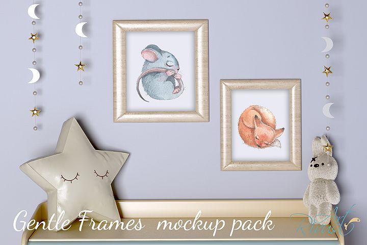 PSD Nursery Frames mockup Baby room mockup Blank wall Print