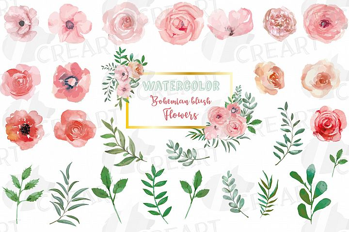 Blush watercolor floral wedding clip art, pink flowers leafs