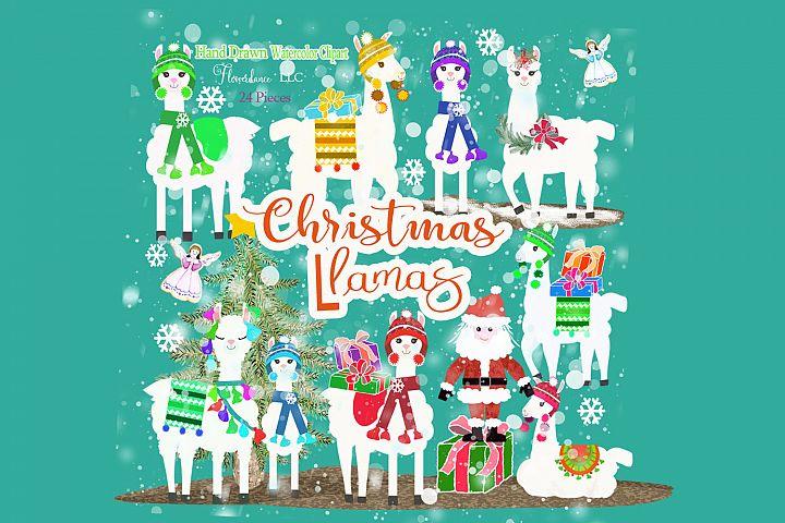 Christmas Llama Clipart, Winter, Santa, Transparent PNG