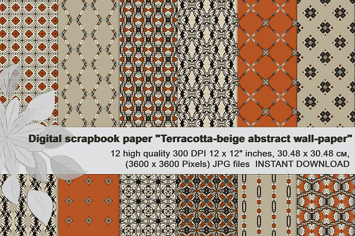 Terracotta-beige, abstract Digital Paper
