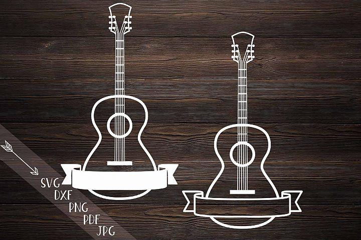 guitar ribbon split monogram dxf svg file papercut template