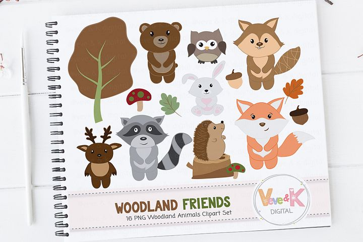 Woodland Animals Clipart Set, Woodland Creature Clipart, Forest Animals Clipart, Woodland Critters, Fox racoon deer, Forest Critters
