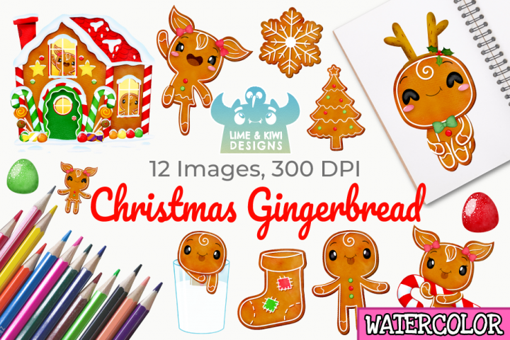 Christmas Gingerbread Watercolor Clipart, Instant Download
