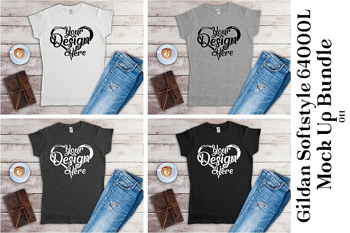 Gildan 64000L Ladies Black White & Grey Mockup Bundle