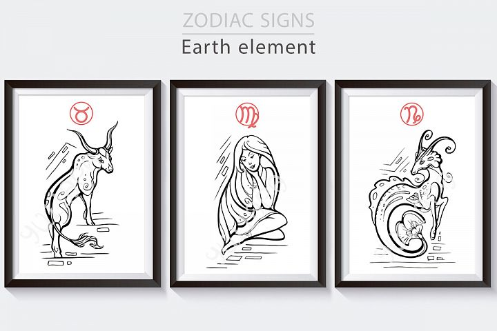 Earth zodiac signs collection, horoscope vector graphics
