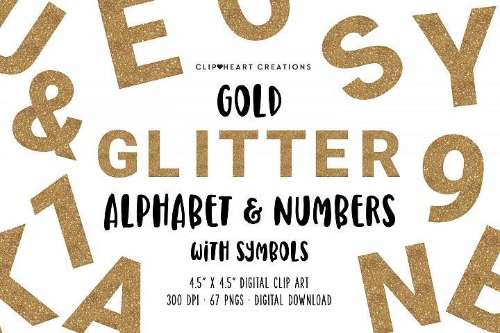 Gold Glitter Alphabet & Numbers with Symbols