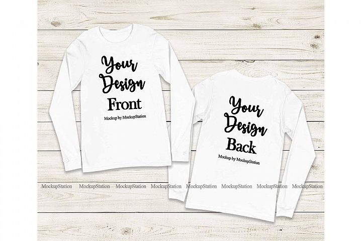 Front & Back Bella Canvas 3501 White Long Sleeve Mockup