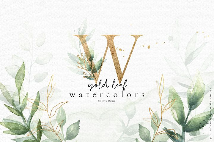 Gold leaf watercolor alphabet clipart