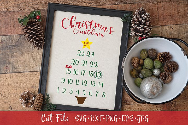 Christmas Tree Advent Countdown Calendar Cut File SVG DXF