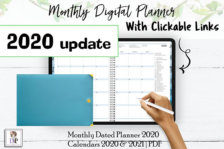 Monthly Dated DIGITAL Planner 2020 Blue PDF CLICKABLE links
