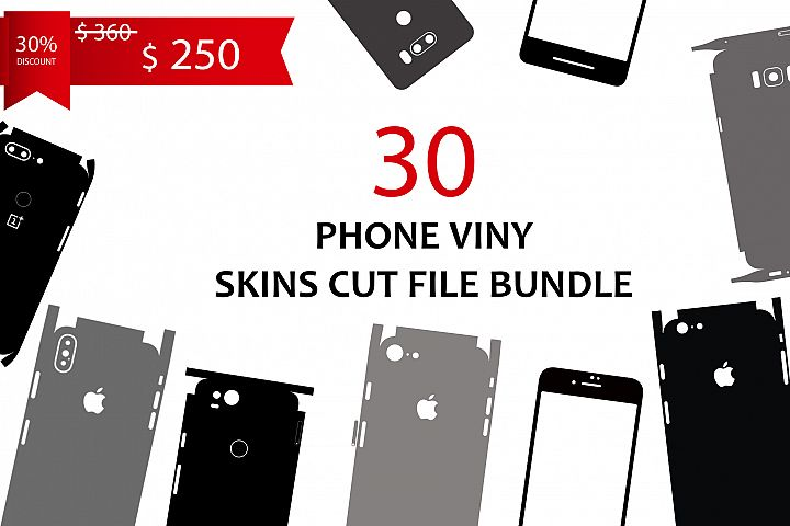 30 Phone Viny| Skins Cut File Bundle