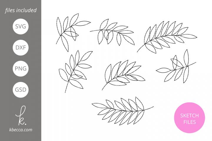Foil Quill Sketch Laurel Leaves SVG File