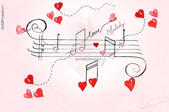 Love melody. Watercolor clipart