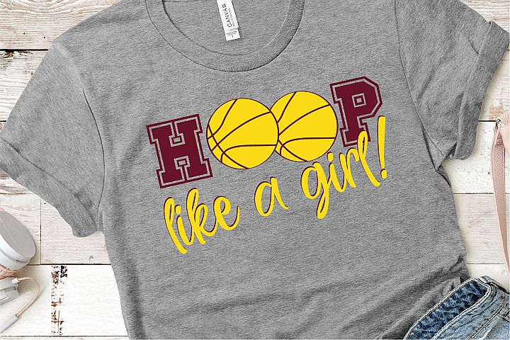 Basketball SVG, Hoop LIke A Girl, Girl Sports