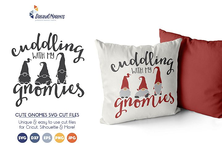Cute Gnomes SVG Cut Files - Cuddling with My Gnomies